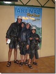 Arenal zip line geared up